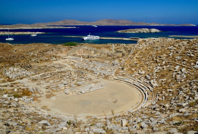 Ancient Theatre and Ruins on Delos.
