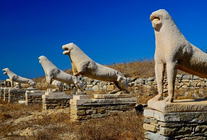 Touring historical sights of Delos.