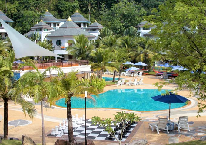 Swimming pools, gardens and giant chess set at Krabi Resort