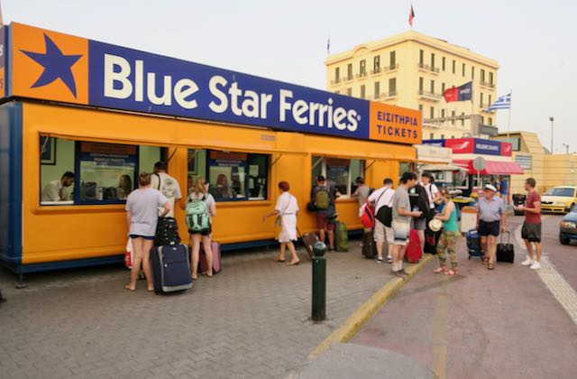Where to pick up tickets at Athens ferry port.