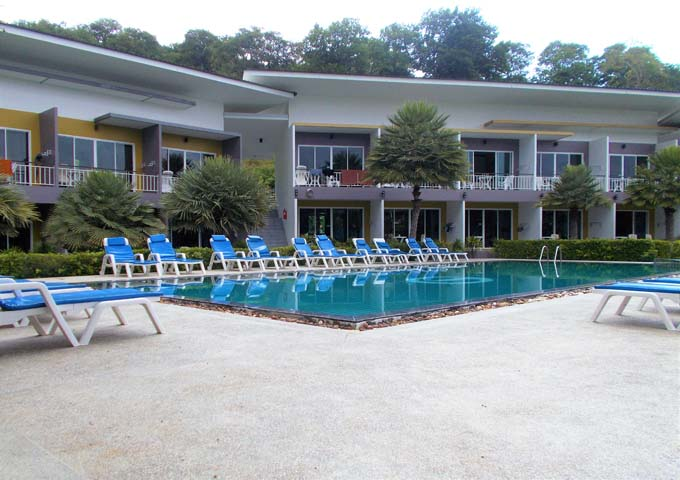 Modern blocks of rooms and standard pool at Gypsy Sea View Resort