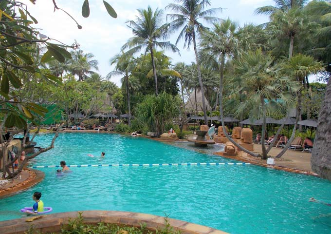 Extremely kids-friendly mega resort with multiple pools and tropical gardens