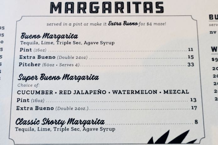 Drink menu at Super Bueno.