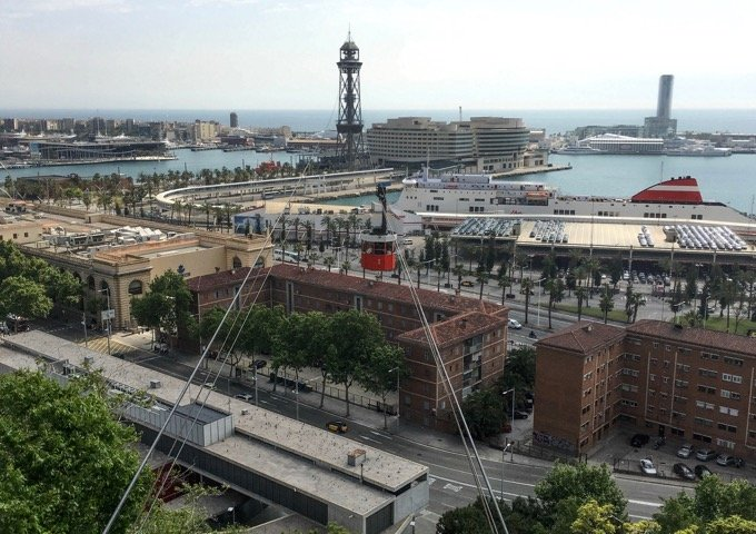 Taking the cable car from Barceloneta to Montjuic