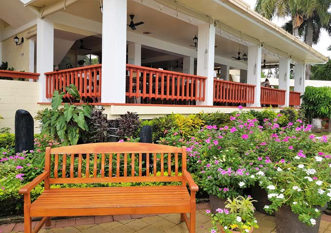 Attractive gardens and decor at the hotel.