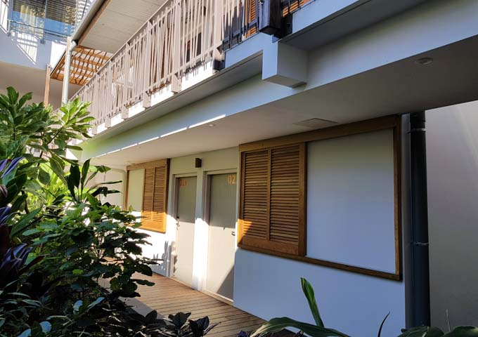 Rooms facing the courtyard have no privacy.