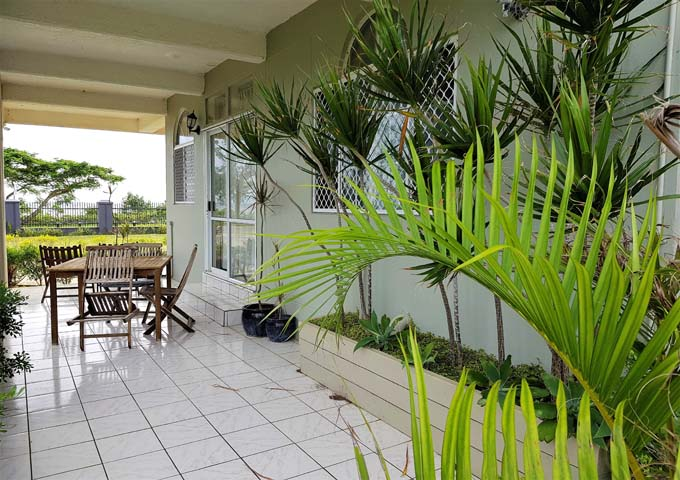 Ground floor apartments have spacious tiled patios.