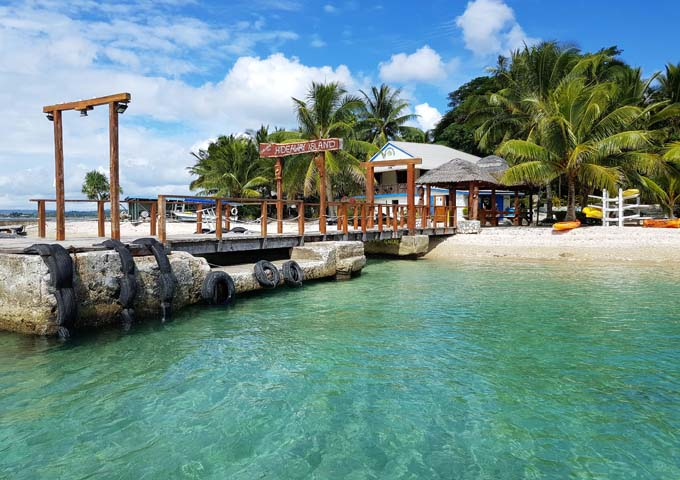 The jetty of the Hideaway Island Resort is rustic and welcoming.