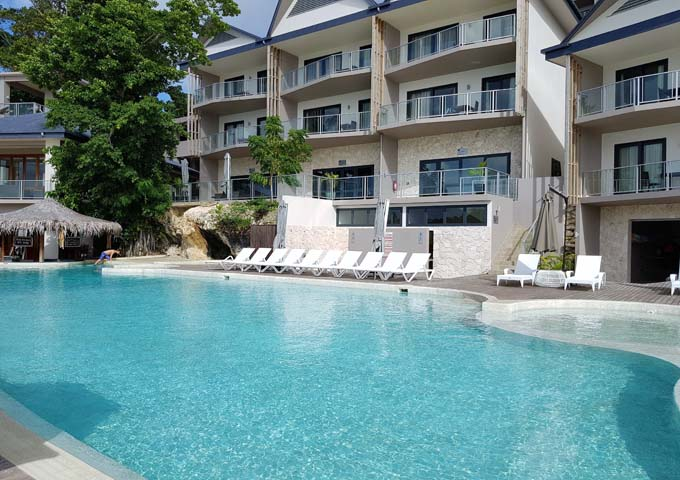 Some apartments overlook the large pool at Ramada Resort.