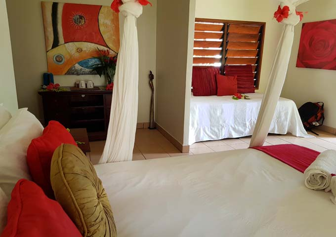 Bungalows feature colourful decor and modern art.