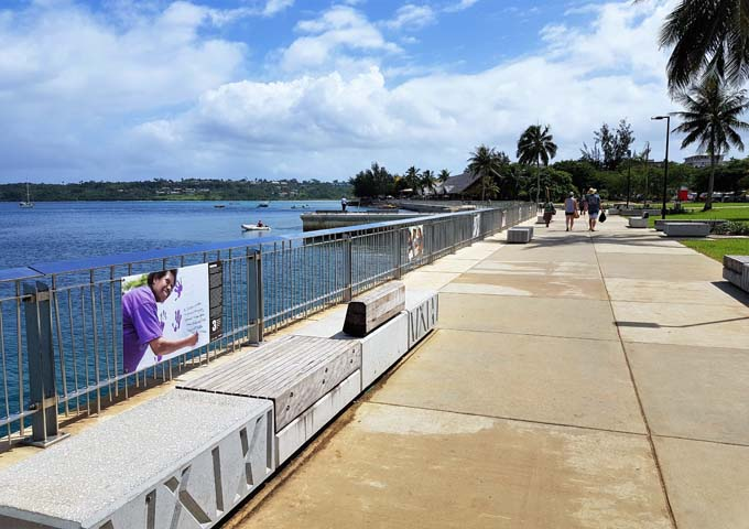 Port Vila is bordered by a seaside path.