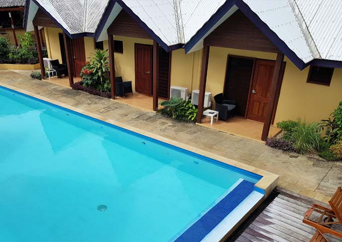 Pool is adequate but rooms facing the pool would find it noisy.