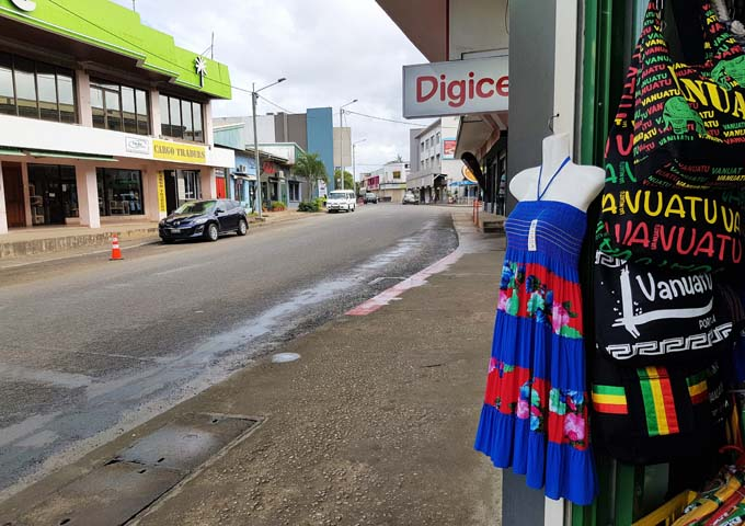 Shopping is centralized on the main street in Port Vila.