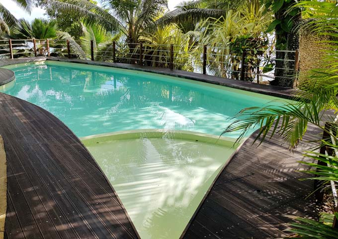 The saltwater pool is large and inviting.