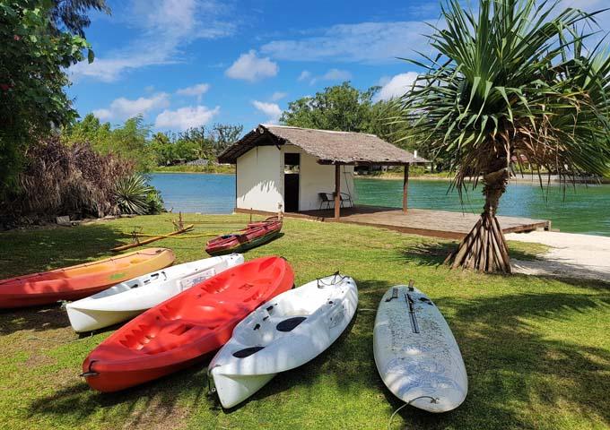 Kayak rental is free at the resort.