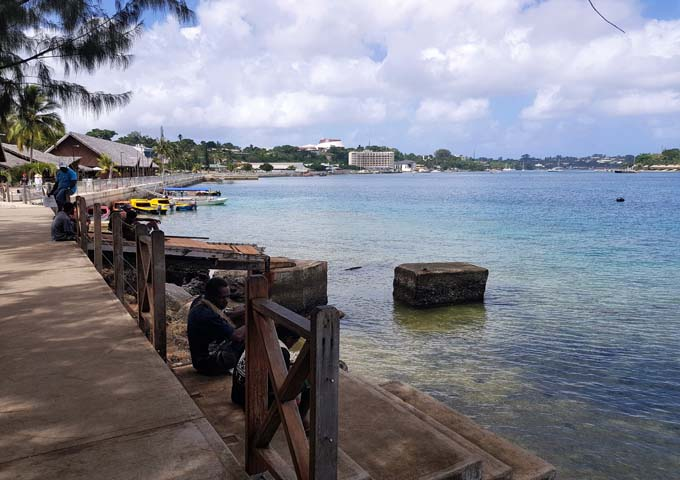 Port Vila is located on the harbour.