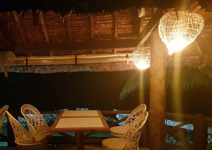 The resort restaurant has a romantic setting.