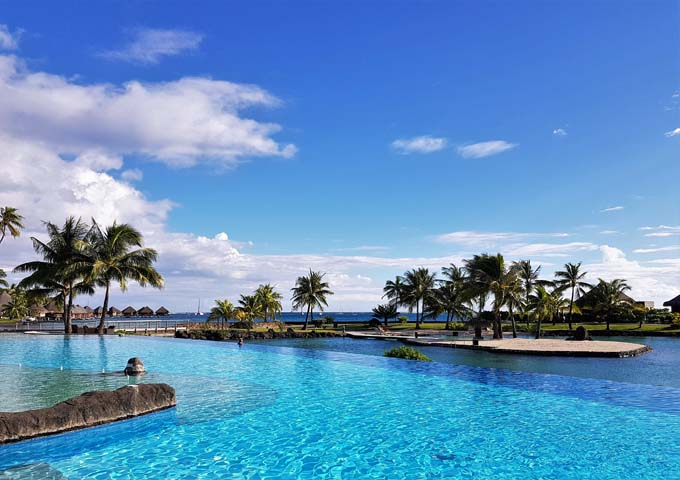 The main swimming is blue and inviting.
