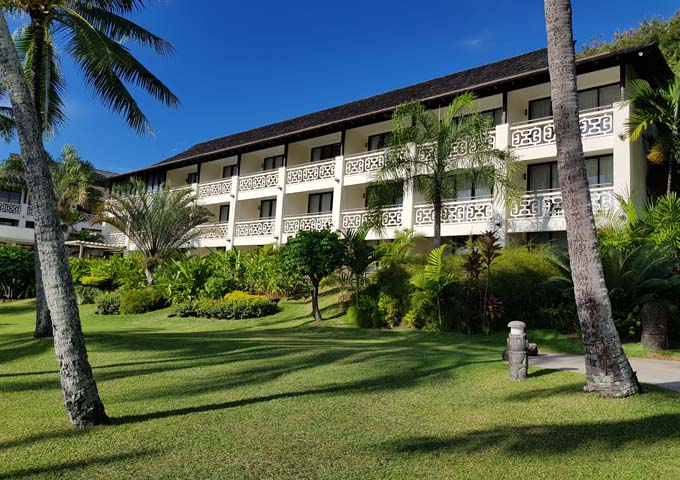 The resort features rooms in attractive 3-level blocks.