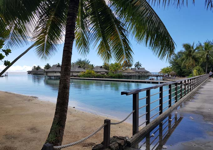 The resort has a stunning setting with beaches, palms and jetties.