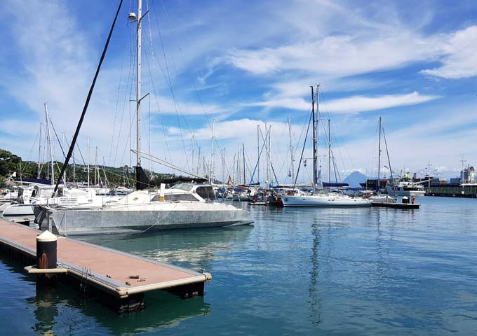 The Pape'ete coastline is dotted with marinas.