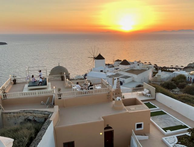 View of Sunset from Oia Mansion Villa.