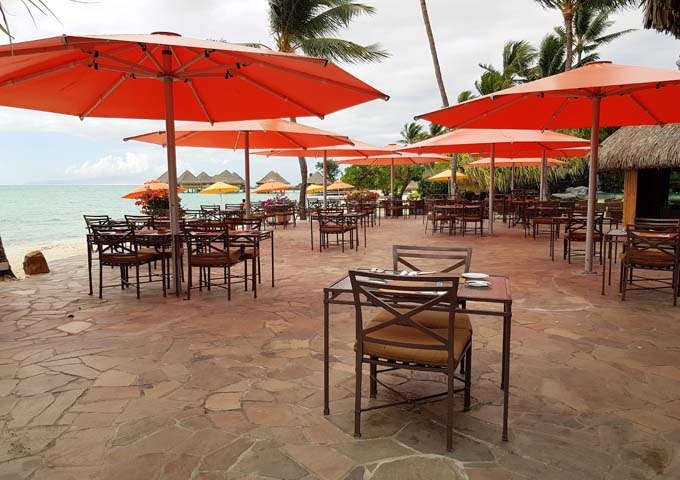 The Noa Noa restaurant has beachside seating.