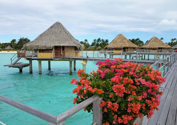 The overwater bungalows are separated and secluded.