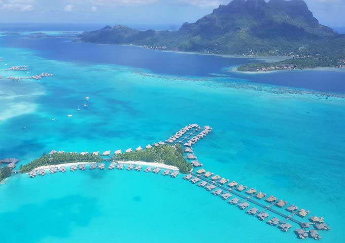 Overwater Bungalows in a typical layout Bora Bora.