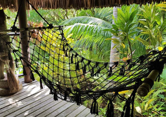 Hammocks give the lodge a tropical vibe.