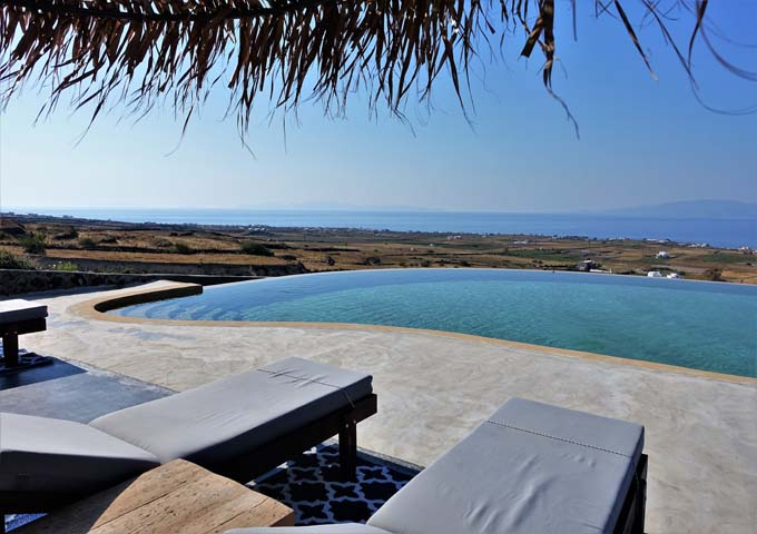 The rooftop pool offers fantastic views of the Aegean Sea.