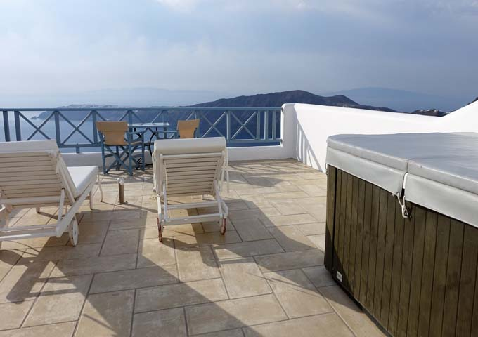 The suite's private terrace is spacious and offers fantastic views.