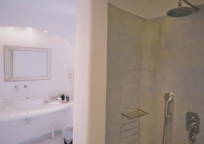 The spacious bathroom has a large vanity area and rainfall shower.