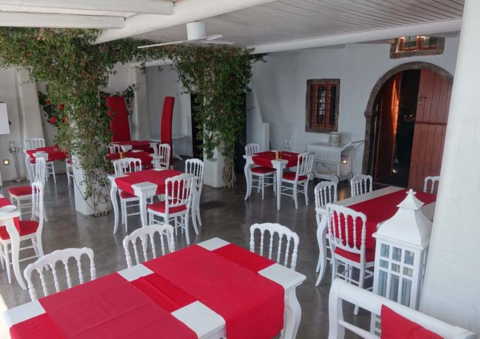 The covered terrace of Lauda Restaurant is pleasant to dine in.