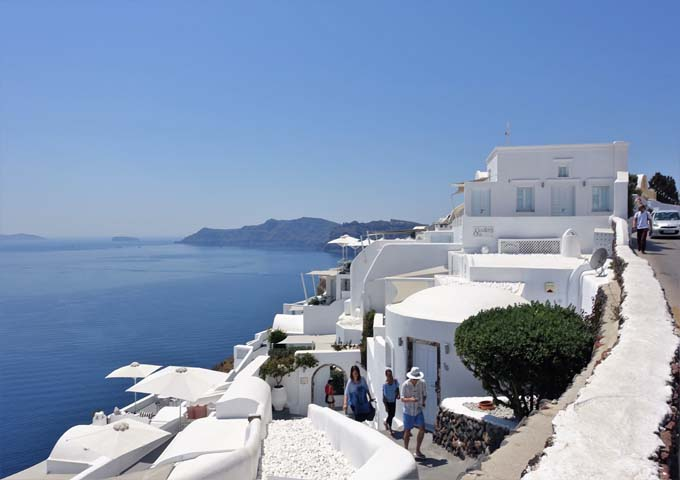 The road outside the hotel leads straight to the center of Oia.