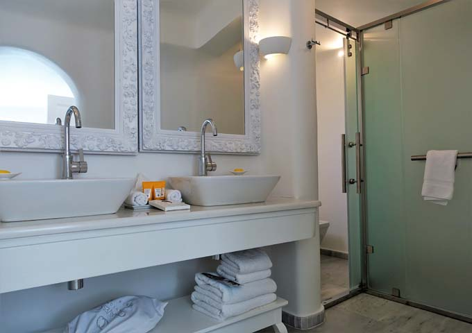 The suite has a very spacious and lavish bathroom.