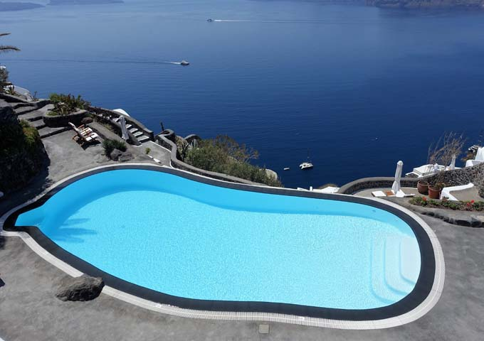 The main swimming pool has an infinity edge and gorgeous views of the caldera.