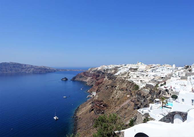 The hotel offers views of almost the entire Oia village.