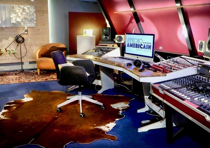 The basement features a professional recording studio.
