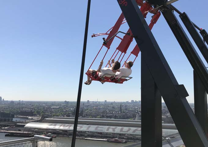 The extreme swing on A'DAM Tower takes guests over the edge.