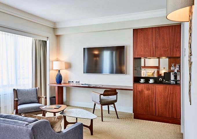Spacious Executive Junior Suites feature amenities such as heated bathroom mirrors.