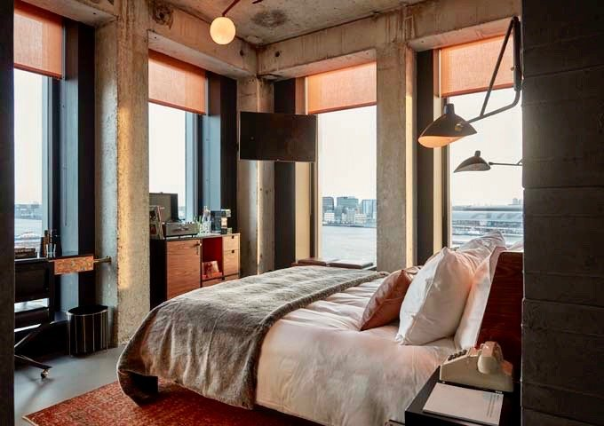 The Sir Suite offers great views of the IJ waterway and historic city center.