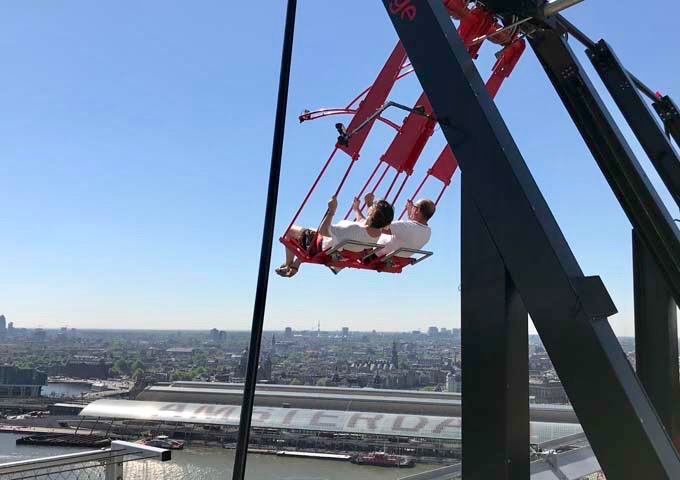 The extreme swing on top of the tower takes guests over the edge of the building.
