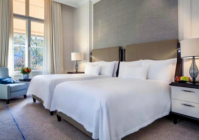 The Twin Premier rooms are cozy and overlook the garden.
