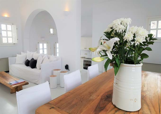Rooms are decorated with fresh flowers.