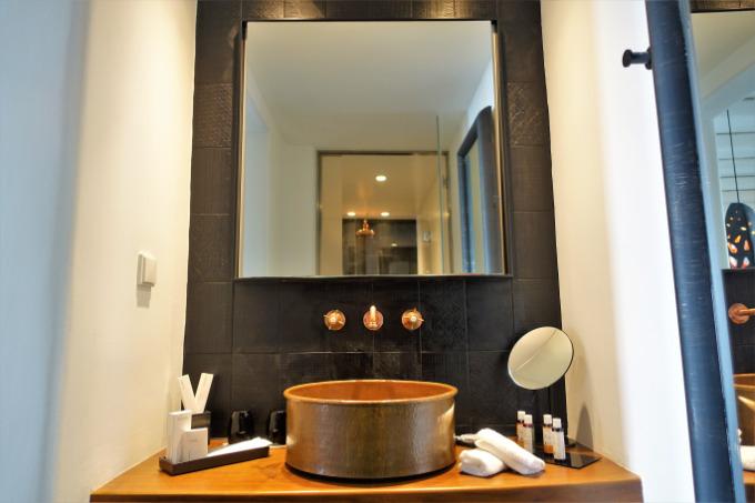 The Pool Suite's bathroom features copper fixtures.