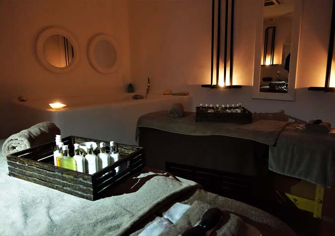 The full-service spa has 3 suites and offers several treatments.