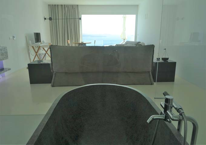 The tub also offers views of the caldera.