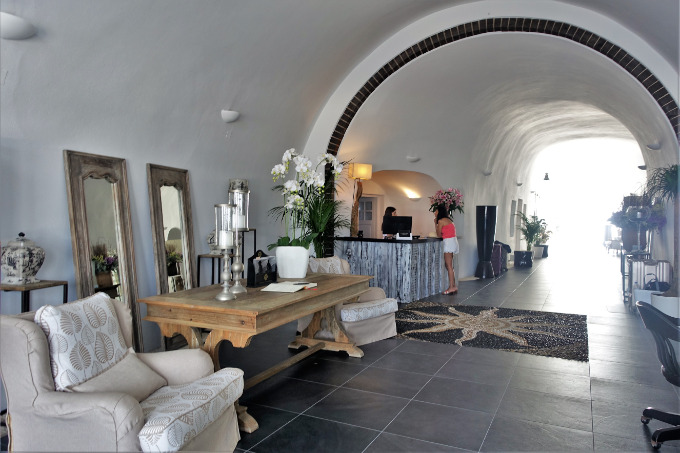 The lobby is located in a hand-carved tunnel that leads to the restaurant and pool.