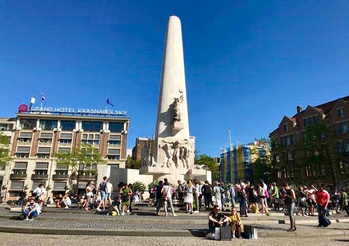 Nationaal Monument on Dam square is a popular tourist attractions.